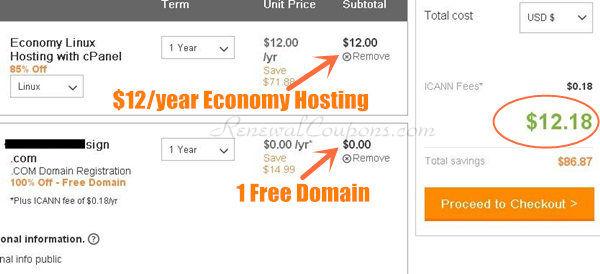 $12/year hosting